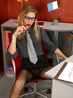 Red hot secretary stroking her pantyhosed pussy with whatever is available