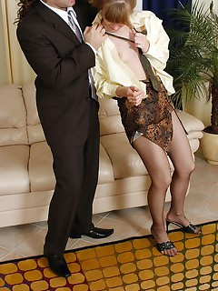 Lunch break ends up with doggystyle fucking for sexy secretary in lacy hose