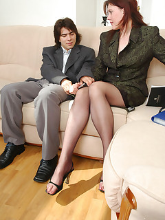 Nice secretary caressing her pink with pantyhosed hands before wild fucking