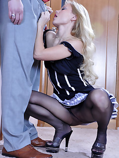 Sexy French maid in black control top pantyhose gets talked into a quickie