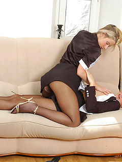 Lewd secretary babes in black hose playing 69 games before strapon fucking
