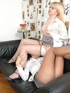 Steamy secretary babes in nylon pantyhose fervently fingering their twats