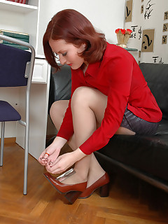 Salacious secretary babes getting down to lickaclit action through tights