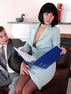 Horny secretary in silky pantyhose prefers cockriding to boring discussion