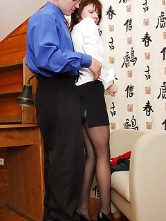 Curious secretary in black tights getting punished with doggystyle fucking