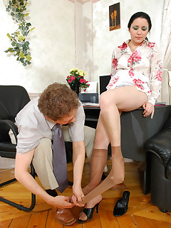 Sexy secretary teasing wellhung dude with her luxury control top pantyhose