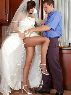Lusty bride in lace trimmed dress and silky tights going for wild coupling