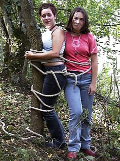 College girls initiated to bondage