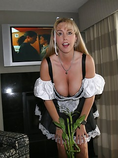 Wifey cleans a hotel room while wearing a French maid outfit and then swallows a huge load of cum