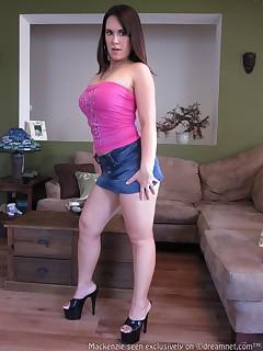 Mackenzie Graham in tight ass mini skirt showing her round booty