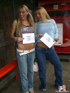 Horny blonde British lesbian girls picked up from the street