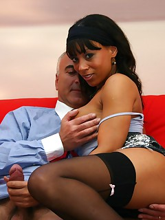 Cheap British ebony slut gets fucked by a horny old man