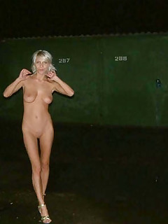Naughty tattooed MILF gets drunk and naked in public while doing kinky poses