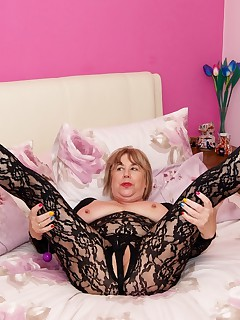Hi Guys You think I look sexy  Seductive in my Black Crotch less Body Stocking But check out my Pearl Thong just the thing to get a girl going before popping in my Purple Duo BallsSpeedybee  xxx