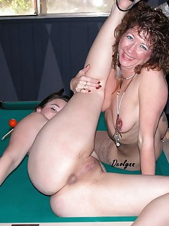 Ok now into the depths of the pool room Here you will find my friend Cami and I show you how a pool table should be used Want to shove some balls our way