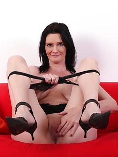 Laura Dark in black panties with toy