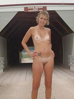 Pics of a blonde exhibitionist wife showing off her shaved cunt outdoors