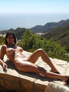 Picture collection of a kinky sexy wife posing naked outdoors for her lover