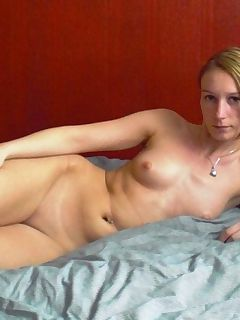 Hot picture collection of a kinky horny MILF stripping naked on the bed