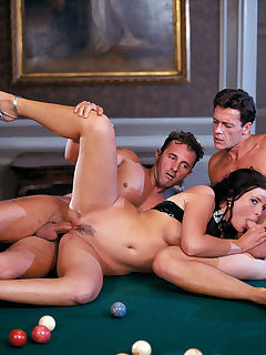 Jessica gets fucked by two horny guys on top of a pool table