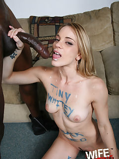 Hot blonde owned by black cock