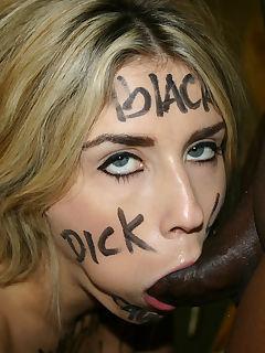 Blond beauty black branded interracial blowjob cum