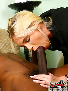 Hot blond Cougar MILF gets interracial creampie