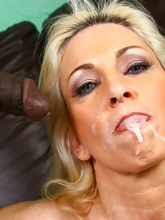 Blonde Cougar fucks 2 young blacks interracial CUM