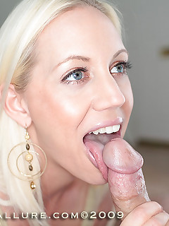 blonde babe spreads pussy and sucks big dick