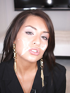 sexy tan cutie sucks dick and gets face covered in jizz