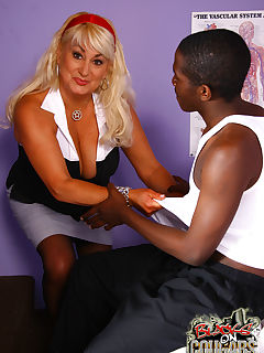 Blonde Cougar MILF picks up and fucks young black