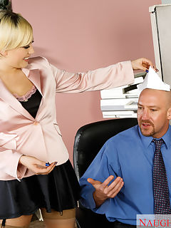 Kagney Linn Karter has a thing for guys with hats So she gets super wet when she sees her companys HR guy making paper hats Kagney tells her HR guy about her hat fetish so he puts it on and Kagney gets to fucking Fucking in the office is definitely a no no in HRs book but of course there are exceptions when you are the HR manager