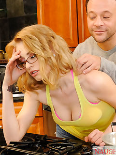 Allie James gets invited to her neighbors Kurts house for dinner Shes not really impressed by his cooking skills as he only knows how to make packaged ramen Kurt thinks that maybe she needs to relax before dinner so he starts massaging her shoulders and her thighs He moves slowly up her thigh until his fingers are in her pussy With Allie all wet Kurt decides its time to finish massaging her pussy with his fat dick He bangs her on his kitchen counter and she swallows his load because lets face it it probably tastes better than his ramen