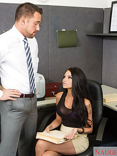 Raven feels under appreciated at work because Johnny comes in with a big stack of folders for her to complete while he goes off to a meeting He returns around midnight and find Raven still hard at work She gives him a piece of her mind and Johnny apologizes then offers her a massage He works from her shoulders to her hips and finally to her tits Johnny is going to reward his secretary for all her hard work by giving her the pounding she deserves