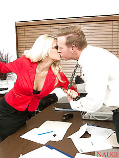 Jazy Berlin takes out her frustrations on a coworker by fucking him doggystyle