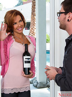 Veronica Avluv drops by her neighbors home and brings by a bottle of wine to welcome him to the neighborhood Of course shes a very welcoming neighbor and gives her new neighbor another little gift once she gets him alone inside his house She tosses him on the bed as soon as she gets a chance and bangs his brains out Theres definitley no better way to be welCUMed to the neighborhood