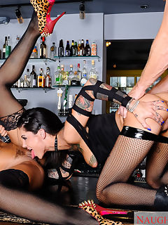 Bonnie Rotten and Skin Diamond are hanging out at the bar when they hear a punk band start playing Well Bonnie and Skin think that theyre more punk than the band and they set out to prove it by fucking each other with a double ended dildo right on the bar What else can these two women get into to show they dont play by the rules Well they could share the bartenders cock of course These two bring a no holds barred session of fucking sucking and squirting to the bar Forget about anarchy in the UK Bonnie and Skin bring anarchy to NA