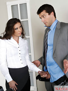 Casey comes into the office to get Ramon for their meeting and finds him sleeping on his desk She gives him a surprising wake up by dropping her briefcase on his desk then scolds him for not being ready for the meeting They trade stories of their previous night and Casey shares that her date would not fuck her let alone kiss her that night Ramon has been fucking up quite a bit lately and Casey has the power to get him fired if she reports him She has other plans for him as she asks him to pull out his cock and gives it a satisfied inspection! If Ramon is going to keep his job today he is going to have to start off by eating her delicious looking pussy then fucking her till she begs for his cum all over her face!