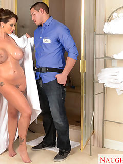 Eva Notty is having issues with her shower water being too cold so she calls the gas company and has them send a tech over to check it out The tech arrives and checks out the issue with her shower but once hes done with that Eva wants him to check out her plumbing She is newly widowed and is in need of having pipe laid Once Eva pops her titties out of her robe theres no stopping the tech from cleaning out her pipes