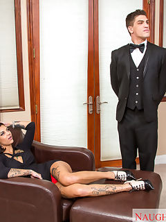 Bonnie Rotten is visiting her grandparents and is bored out of her mind She has some time to kill before meeting up with her friends so she calls her grandparents butler over to entertain her The butler assures her that hes not really a source of entertainment but spoiled rich girls like Bonnie always get what they want She puts him in his place and commands him to kiss her feet She then orders him to take out his cock so she can suck it and ride it Even though he swore he wasnt a source of entertainment Bonnie found a way to have fun with him