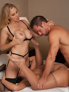 Julia Ann and Phoenix Marie have hot threesome with client