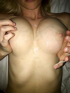 No better way to end the year than cumming on my wife's tits Happy New Years!