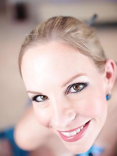 busty blonde beauty Aimee sucks dick gets cum facial