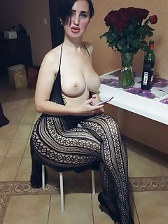 Thicc milf in a full body stocking