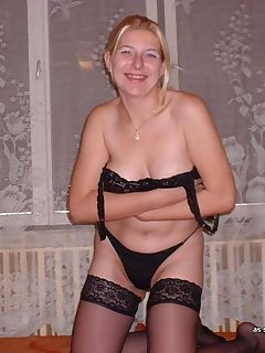 Blonde MILF lingerie strip and anal sex