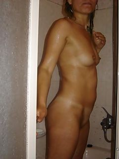 Sexy naked wife being a tease in the shower