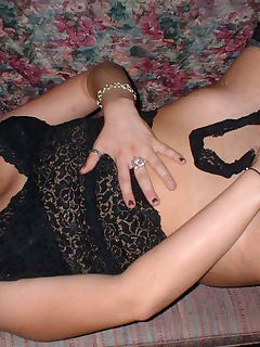 Wild MILF in hot black lingerie