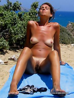 Fit sleazy MILF shows off her hairy pussy