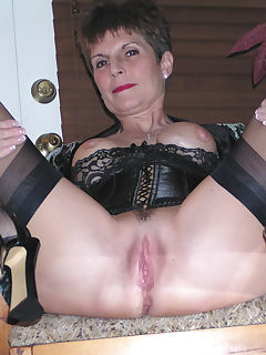 bev spreading black stockings