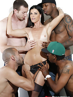 Ultra sexy Brunette cock loving MILF India Summer is dipping her fingers into her soaked hot pussy waiting for four cocks to invade her craving pink tight pussy One by one we offer our throbbing poles into Indias hot mouth pussy and of course her tiny little butt hole India was so dick hungry she had meat in all her holes and hands until we left her dripping with come from head to toes